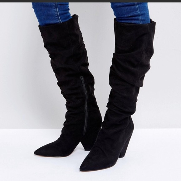 796ab697f1c ASOS Shoes - ASOS knee high ruched slouch cone heel Boots